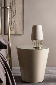 Conique 3 nightstand, Chevet en fer courbé, entièrement couvert