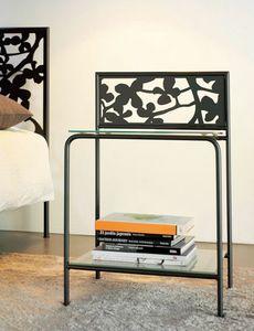 Flower Bedside, Moderne table de chevet en métal avec des étagères en verre