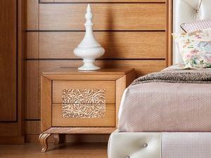 Giulietta e Romeo table de nuit, Table de chevet en bois avec décoration en trois dimensions