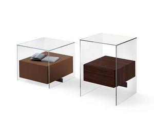 Kit Bedside table, Chevet en verre avec tiroir en bois, pour les chambres