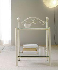 Lina Bedside Table, Table de chevet en fer peint et 2 étagères en verre