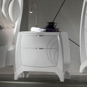 Luna LUNA5156, Table de chevet 2 tiroirs avec gravures