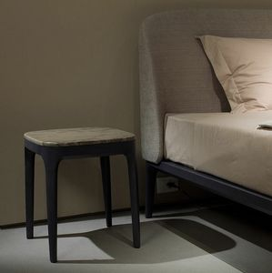 Manda table de nuit, Table de chevet en bois avec dessus en marbre