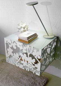 Pendentif Flower, Chevet en suspension, base en métal, plateau en verre