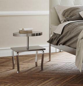 Prince, Bois moderne et table de chevet en métal, étagères en acier