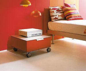 PRISMA comp.06, Table de chevet moderne avec des roues, pour la chambre des enfants