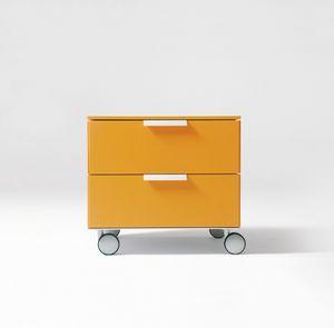 PRISMA comp.02, Table de chevet moderne, poignée en aluminium, pour les chambres