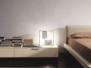 PRISMA comp.08, Table de chevet design moderne et linéaire, pour la chambre à coucher