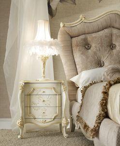 Signoria Table de nuit, Table de nuit classique avec décorations florales