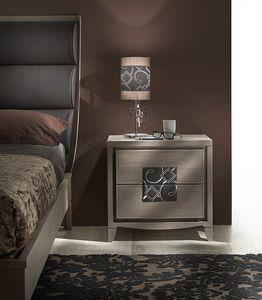 ST 731, Table de chevet classique, avec insert en cuir brodé