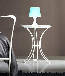 Table de chevet Fiocco, Table de nuit avec base en métal et satin dessus en verre