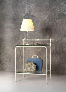Table de chevet Rondò, Table de chevet classique en métal et en verre, pour chambre d'hôtel