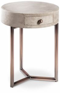 Teo table de chevet, Table de chevet ronde en cuir