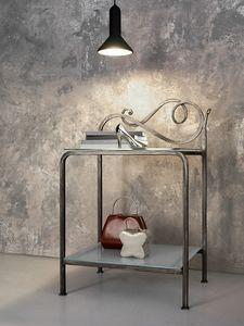 Toledo table de chevet, Table de chevet en métal avec 2 plateaux en verre transparent
