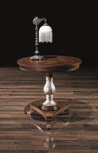 DUCA table 8680T, Table ronde en bois, avec colonne décorée, pour les hôtels
