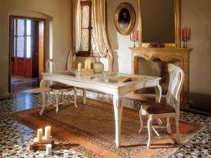 MALENE table 8124T, Table de style gustavien, structure en bois et plateau en verre