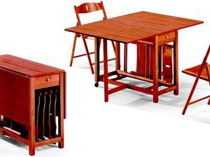 Fred table, 189EVF chair, Table pliante, avec hébergement pour chaises, économie d'espace