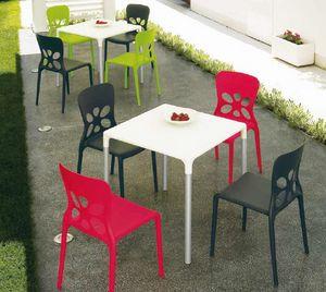 Stop, Table d'extérieur, empilable, en aluminium et en plastique