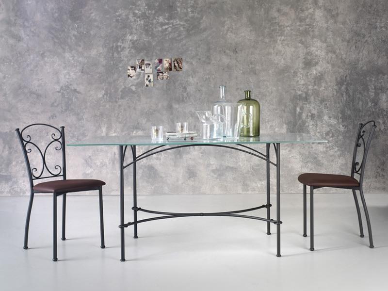 Corallo, Table rectangulaire en métal, plateau en verre