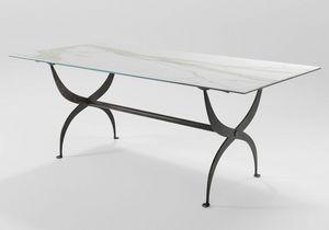 Strauss, Table en fer avec plateau en verre
