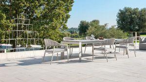 Dolmen low, Table extensible en aluminium pour usage extérieur