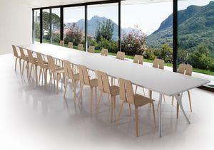 Pegaso solid, Longue table en aluminium poli et le haut de résine