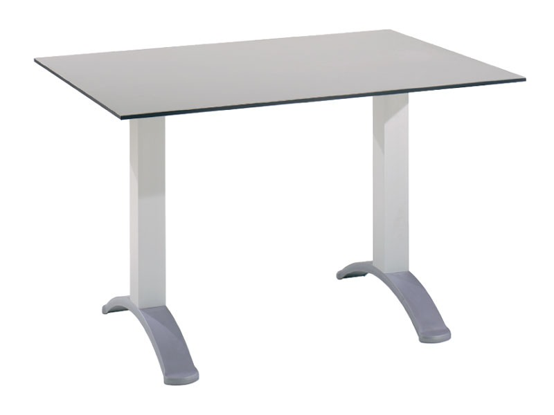 Table 120x80 cod. 07, Table rectangulaire avec 2 colonnes en aluminium de base
