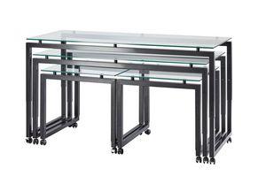 Buffet-Roll, Tables réglables en hauteur avec des roues