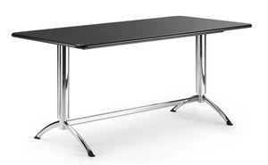 KOMBY 945, Table rectangulaire avec base en métal chromé