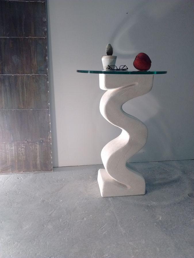 Flex, Colonne avec socle en pierre, plateau en verre