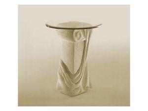 Saffo, Table avec dessus dans la colonne de verre et de pierre