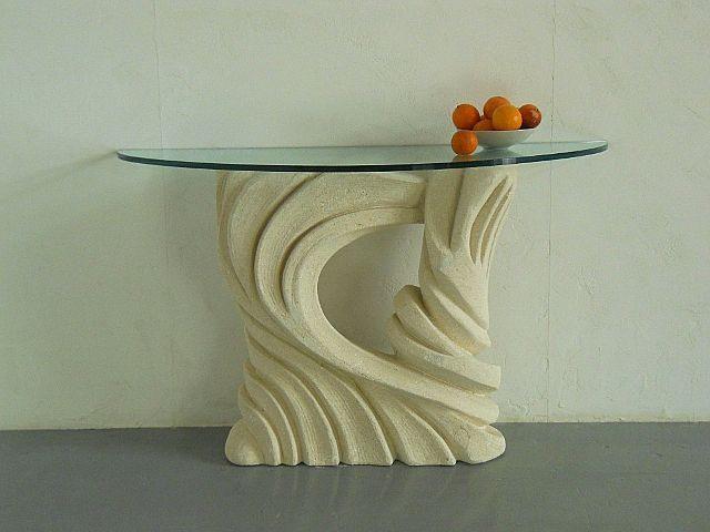 Santaclara, Table avec base sculptée, plateau en verre, pour les restaurants