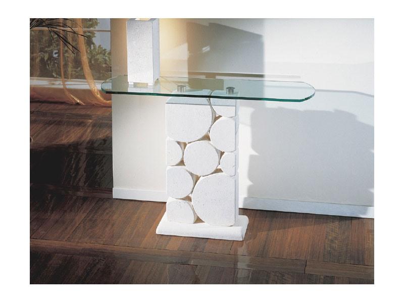 Sfera, Table avec colonne blanche sculptée en pierre