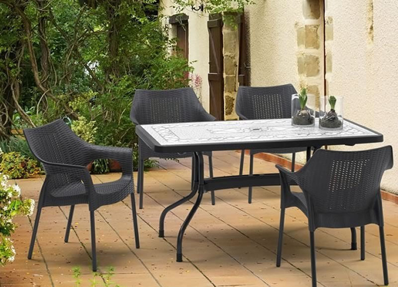 Ribalto Top table 140x80, Table pliante de jardin, plateau rabattable