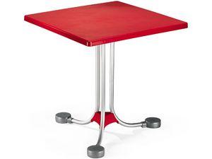 Table 72x72 cod. 06, Table basse carrée avec base en aluminium de contrepoids