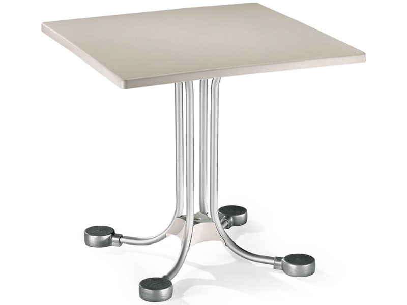 Table 80x80 cod. 23, Bar table carrée avec des contrepoids en aluminium