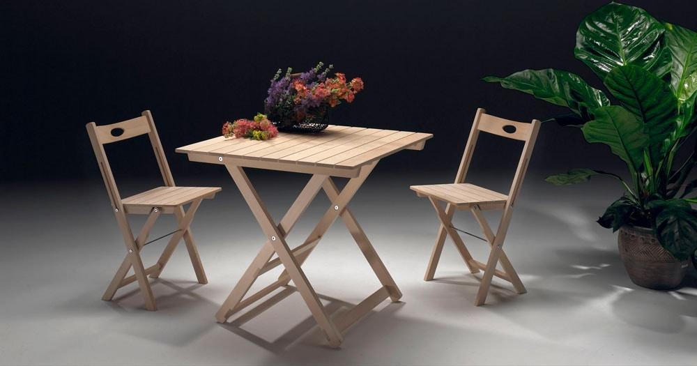 Anni 60, Tables pliantes en bois, pour intérieur et extérieur