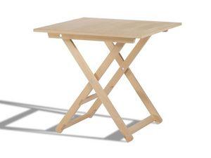 Anni 60, Table pliante, en bois, avec plateau rond, pour l'extérieur