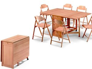 Ginger table, Stoppino chair, Table encombrant, pliable, en bois de hêtre