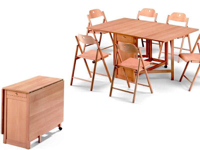Ginger table, Stoppino chair, Table encombrant, pliable, en bois de hêtre