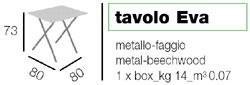 Tavolo Eva, Table de gain de place, plateau en hêtre. pour bar et restaurant