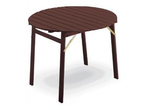 Tavolo P round, Table avec cadre rabattable, plateau rond, en hêtre