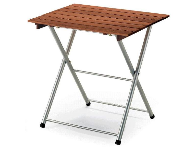 Tavolo Spring, Table pliante en métal, avec plateau en bois