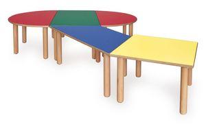 ITALIA COLLECTION, Table modulaire pour les enfants, fait de bois, de couleurs différentes, pour les écoles et jardins d'enfants