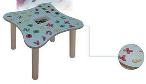 MARAMEO/L, Table d'enfant, les jambes en bois de hêtre, laminé haut, pour les jardins d'enfants et écoles maternelles