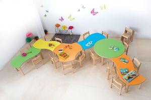 ONDA, Table modulaire pour les enfants, des bords et des coins arrondis, différentes couleurs et formes, pour les jardins d'enfants et écoles maternelles