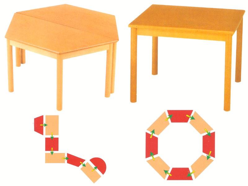 Tavolo componibile, Tables modulaires, en bois de hêtre, de l'école maternelle et