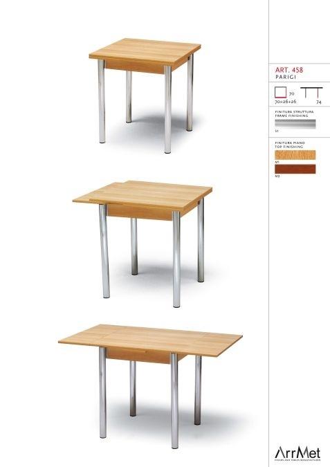 Parigi 70x70, Table carrée, extensible, pour l'ameublement de cuisine