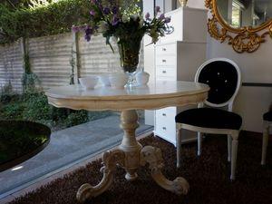 475 TAVOLO, Linear table à manger, bois, rond, classique