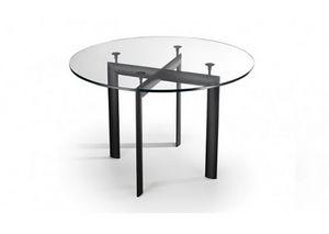 528, Table avec plateau en verre rond